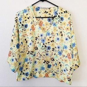Zara Yellow Silky Floral Flare Sleeve Top